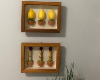 Vintage Art- One Of A Kind Shadow Box Decor - Handmade - Playroom Decor Fruit & Veg