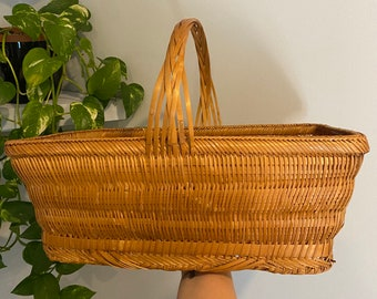 Vintage Wicker Woven Basket - Deep and Functional