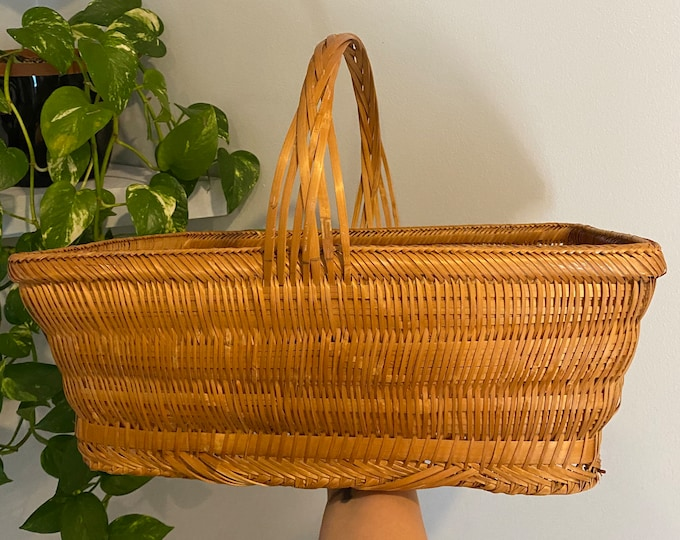 Featured listing image: Vintage Wicker Woven Basket - Deep and Functional