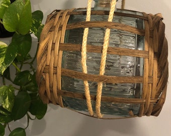 Unique Vintage Glass Jug with Brass Taps and Woven Wicker & Rope Accents
