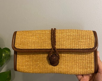 Vintage Retro Wicker Rattan Clutch Wallet