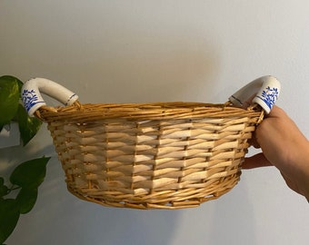 Vintage Woven Wicker Basic With Ceramic Blue Handles