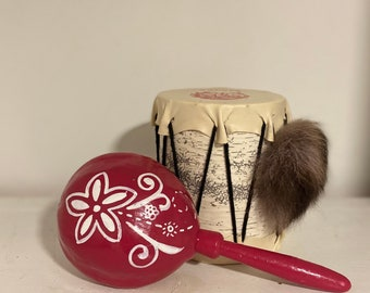 Vintage Handmade Wooden Drum & Maracas Set of Two