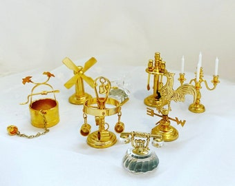 Vintage Brass Miniatures, Doll House Accessories, Farm House Accessories, Miniature Brass Bundle