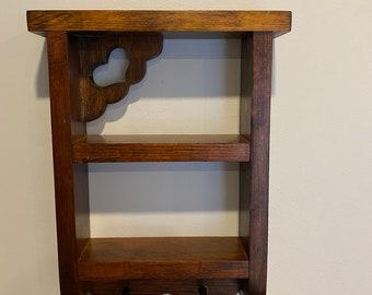 Vintage Handmade Dark Walnut Shelf
