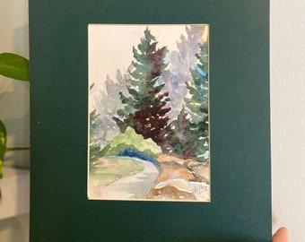 Vintage Nature / Natural Trees Handpainted Watercolor Scene