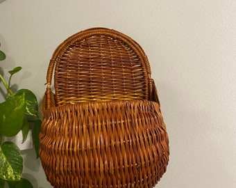 Vintage Wicker Basket/ Hanging Plant Holder