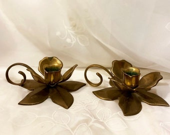 Vintage Brass Flower Candle Stick Holders