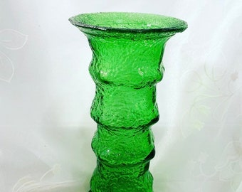 Vintage Blenko Style Hand Blown  Emerald Green Crackle Glass Vase 7""