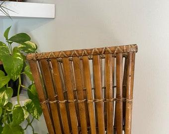 Vintage Wicker Rattan Basket / Hanging Plant Holder