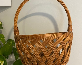 Vintage Woven Wicker Carrying Basket