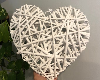 Vintage White Wicker Heart Large Wall Hanging