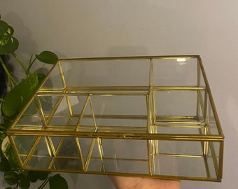 Vintage Retro Mirrored Jewelry Box w/ Brass Details