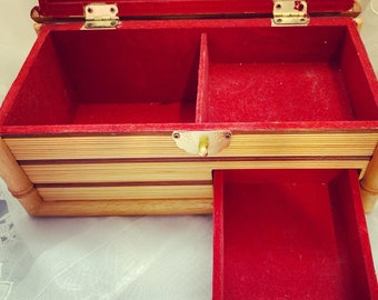 Antique Bamboo Red Velvet Jewelry Box w/ Gold Latch