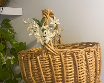 Vintage Wicker Carrying Basket with Flower Handle Accent