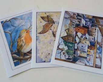 Set of 3 Handpainted Water-Colour Blank Cards - Handmade Gifts