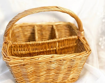 Vintage Wicker Condiment, Organization Basket