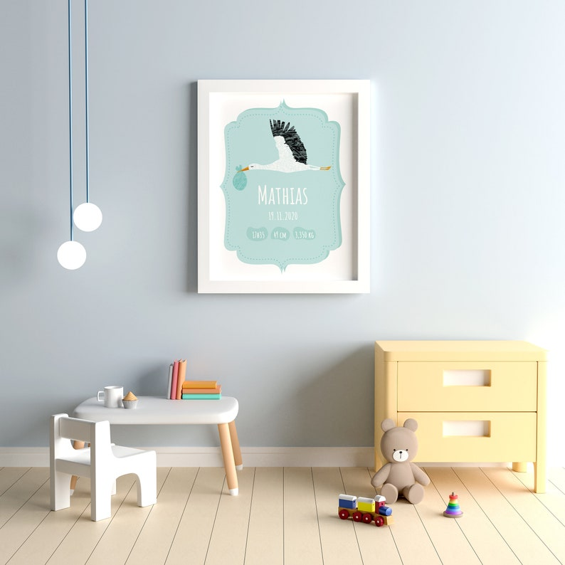 Personalised Baby Boy Birth Poster Child poster stork and baby