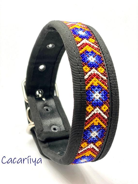 Large l Dog Collar Huichol art Leather collar Handmade Fairtrade Mexican style Handsewn beads