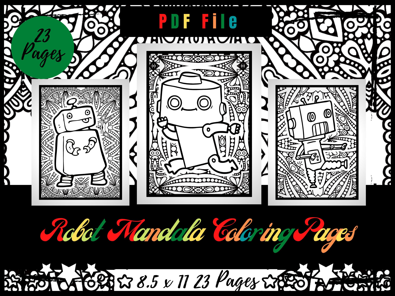 roboter mandala malvorlagen für kinder malvorlagen pdf  etsy