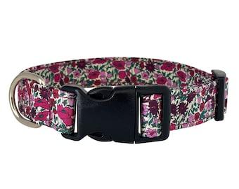 Liberty Dog Collar - Petal and Bud  Floral Dog Collar   Adjustable Dog Collar   Strong Webbing   Strong Buckle   Washable