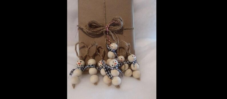 Wood Bead Snowman Christmas Gift Charms Tags