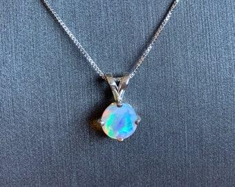 Rectangle Opal Pendant October Birthstone Opal Silver Necklace Original Opal Pendant Free Silver Necklace