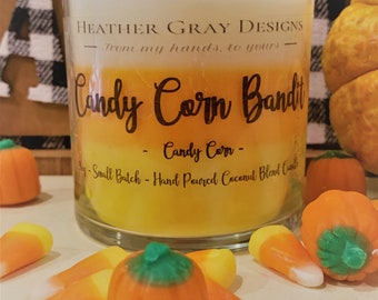 Candy Corn Bandit - Hand-Poured Soy Blend Candle - Candy Corn Scented  - Fall Scented Candle - Layered Candle - Happy Halloween Candle