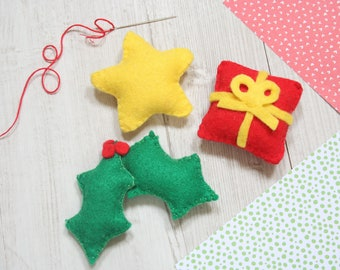 Christmas decoration sewing kit. Star, holly and present.