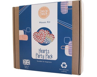 Mosaic Heart Party Pack,  Heart Craft Kit,  Make it Yourself, Family lockdown activity, Friends group activity, Party activity