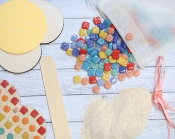 Rainbow Mosaic Heart Kit, Love Heart Craft Kit, Valentines Creative Gift, Make it Yourself Hanging Heart, Heart Coaster