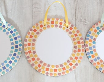 Mosaic Mirror Kit in  Yellow,  DIY Craft Kit, Make it yourself Mirror, Gift for Teen, Creative Activity, Lockdown Activity, Adult Present
