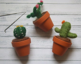 Mini Cactus Needle Felting Kit, Beginner friendly Craft Kit