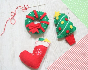 Christmas decoration sewing kit. Tree, Wreath and Stocking