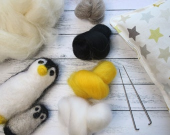 Penguin Needle Felting Kit, Craft for Beginners, Cute Baby Penguin, Adult Craft kit, Gift for Mum, Mothers Day,