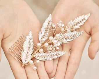 Crystal /'Calypso/'  Hair Comb Delicate Beautiful Crystal Comb Boho Gold Bridal Hair Comb FREE SHIPPING London Design