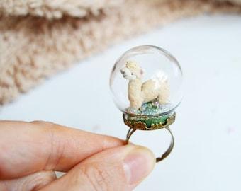 Alpaca Glass Globe Ring