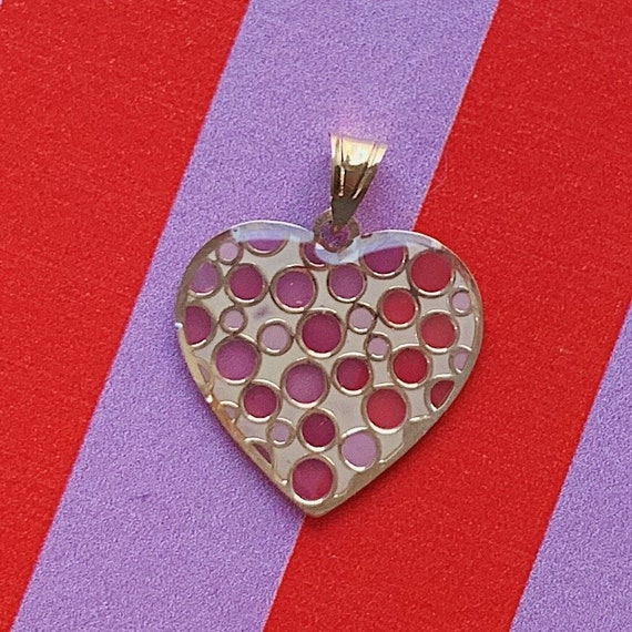 GOLD HEART PENDANT, Vintage 14k Yellow Gold Void H