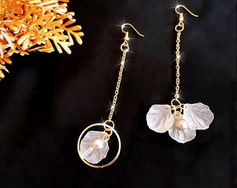 Mother gift Asymmetrical earrings stabilized flowers with black beads style gold pendant or silver wedding anniversary