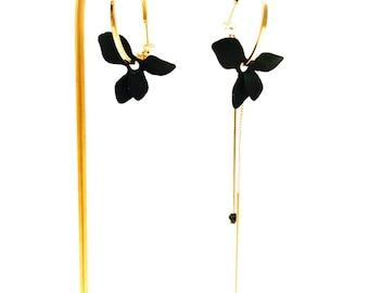 Asymmetrical earrings creole flowers birthday gift woman souvenir paris earrings summer earrings evening