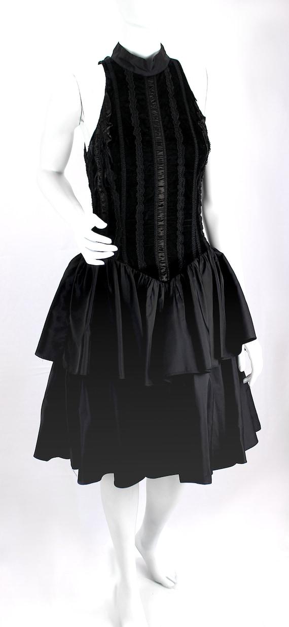 Vintage Dress Evening Satin Puffy Skirt Ruffle Fo… - image 2
