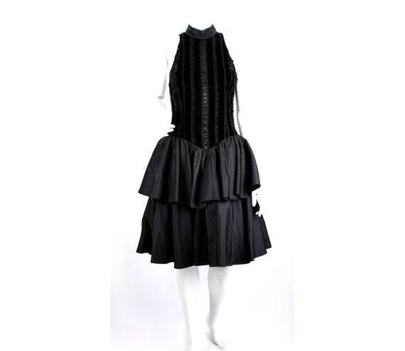 Vintage Dress Evening Satin Puffy Skirt Ruffle Fo… - image 1