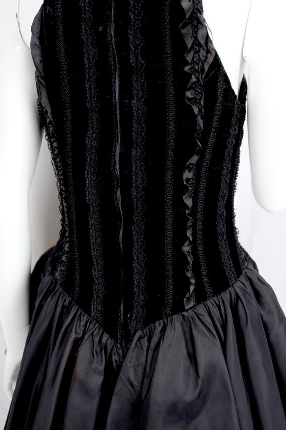Vintage Dress Evening Satin Puffy Skirt Ruffle Fo… - image 8