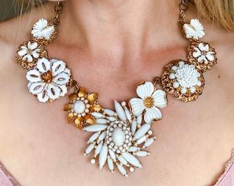 Rochelle - VINTAGE Assemblage Statement Bib Necklace White Enamel GOLD Filigree Dogwood Flower Repurposed Jewelry Upcycled Earrings OOAK
