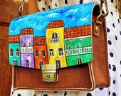 Leather Bag Adjustable Strap Shoulder Crossbody Purse, Cross Body Women bag Hand Painted old tbilisi Houses
