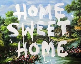Banksy Home sweet home  Wall Art Graffiti  Canvas Fashion wall art Pop art print Home decor