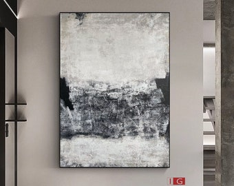 Black and white abstract Art Black and white wall art Large Black Abstract Painting Black white Minimalist Painting Black white Painting
