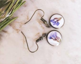 Purple pressed flower Earrings, ,Real Pressed Flower Jewelry,  Botanical Jewelry, Real Flower Earring, bohemian girl