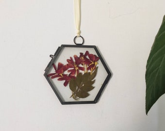 Red real pressed flowers bouquet wall hanging, farmhouse decor, gift for her, pressed flower frame,  boho wall art, valentine's day gift
