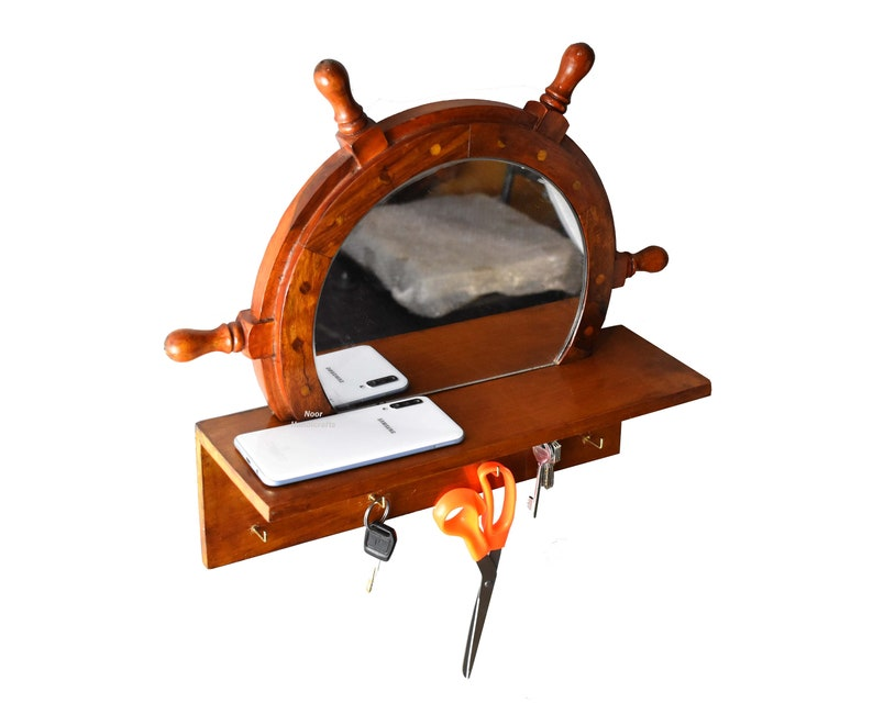 Decorative Wooden Wall Organizer for Keys Noor Handicrafts Wooden Ship Wheel Mirror with Key Holder and Mail Shelf